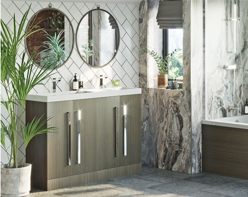 Natural Elements bold bathroom walls and floors