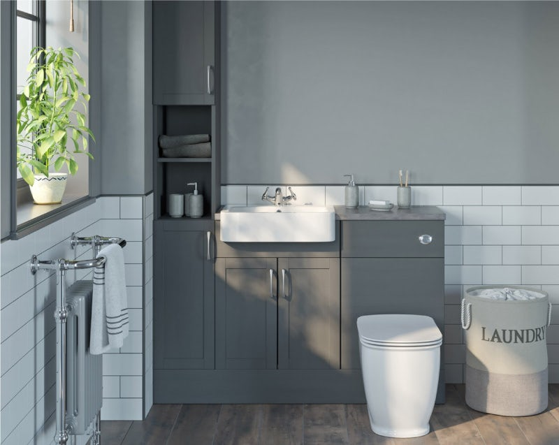 Reeves Newbury dusk grey tall fitted furniture combination with grey worktop