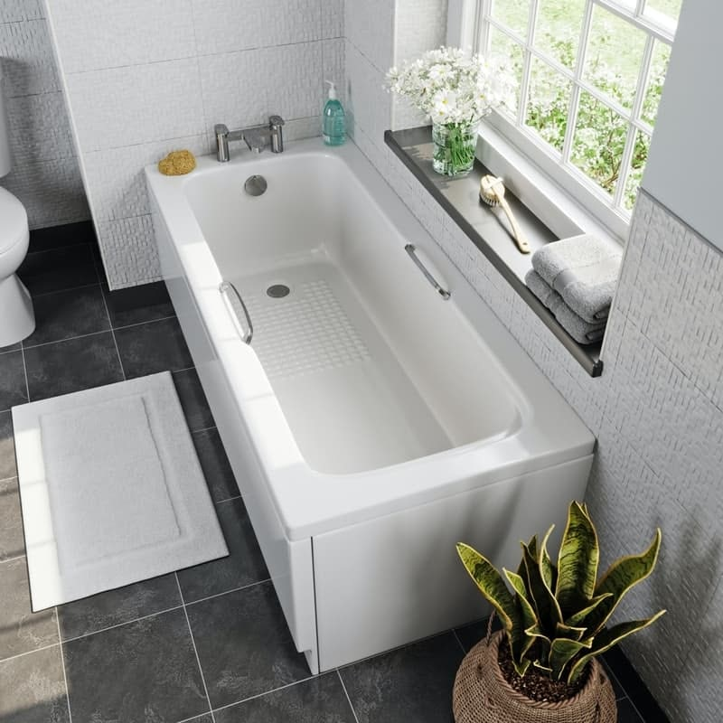Kirke tread pattern acrylic bath with grips