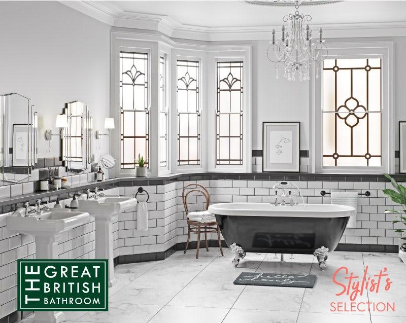 The Bath Co. Dulwich black roll top freestanding bath with chrome claw feet