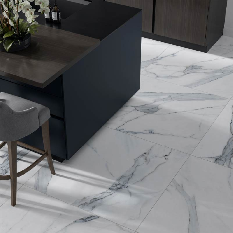 Storm white marble effect matt wall and floor tile 800mm x 800mm