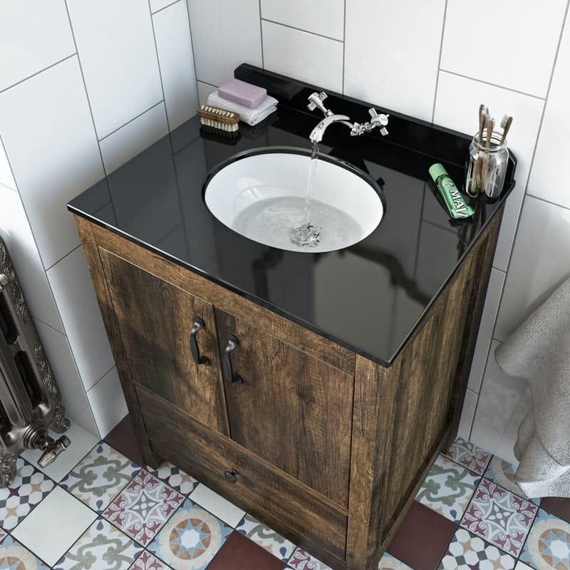 The Bath Co. Dalston floorstanding vanity unit and black marble basin 650mm