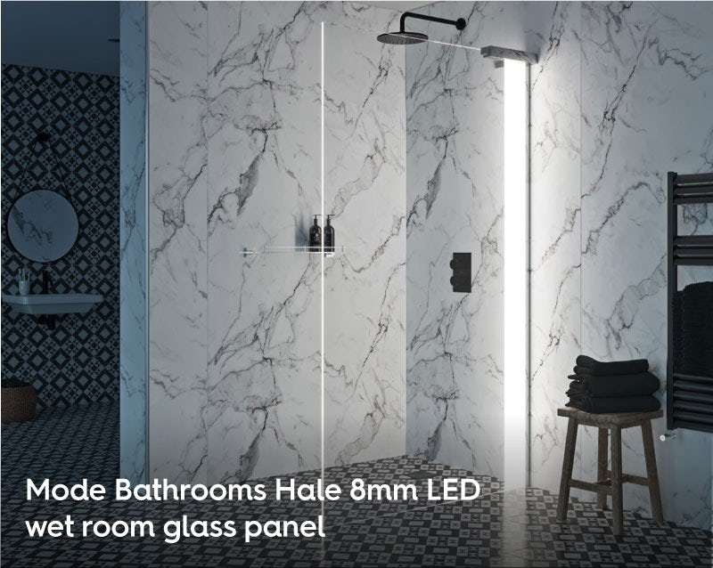 Mode Hale 8mm LED wet room glass panel