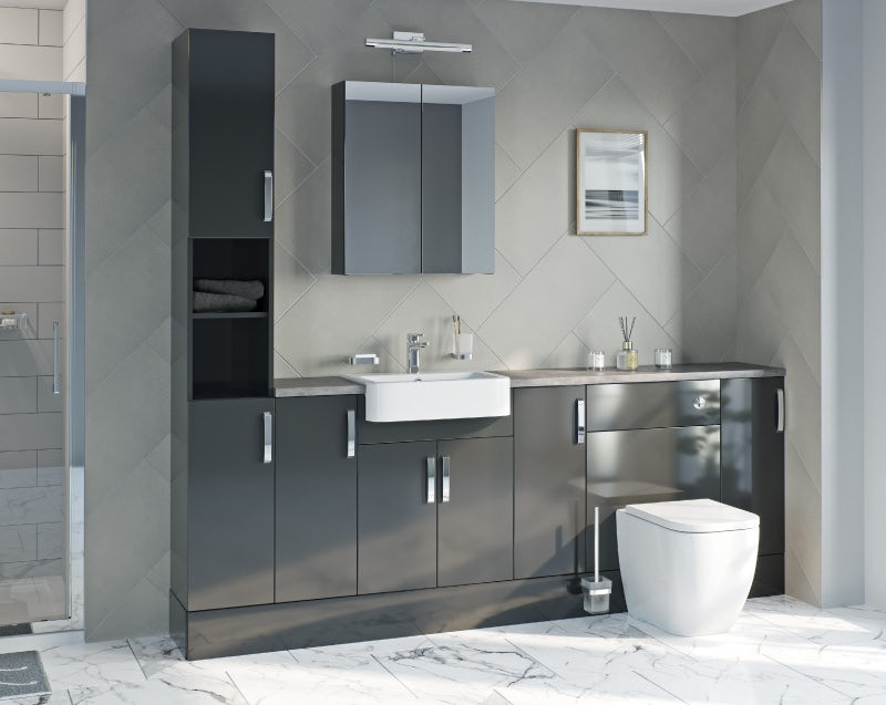 Reeves Nouvel gloss grey tall fitted furniture & storage combination with beige worktop