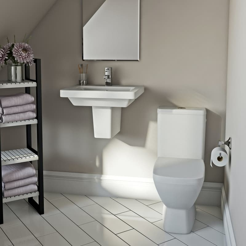 Mode Cooper complete cloakroom suite with semi pedestal basin 550mm, tap and waste
