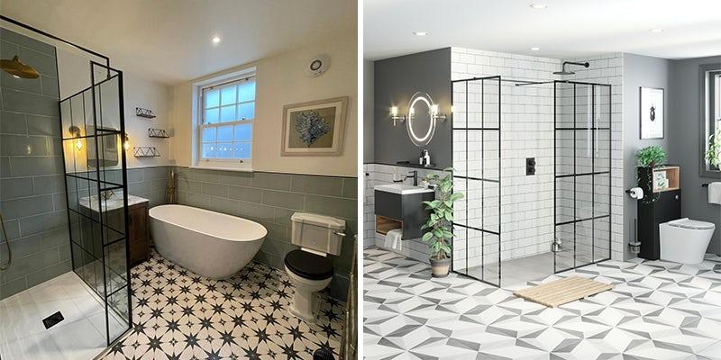 Combine black framed shower enclosures with Victorian patterned floor tiles