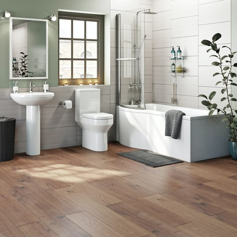 Orchard Wharfe bathroom suite with left handed P shaped shower bath 1700 x 850