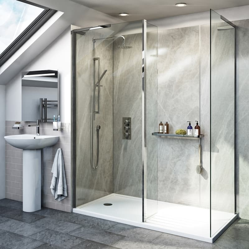 Mode 8mm walk in shower enclosure pack with return panel and walk in tray