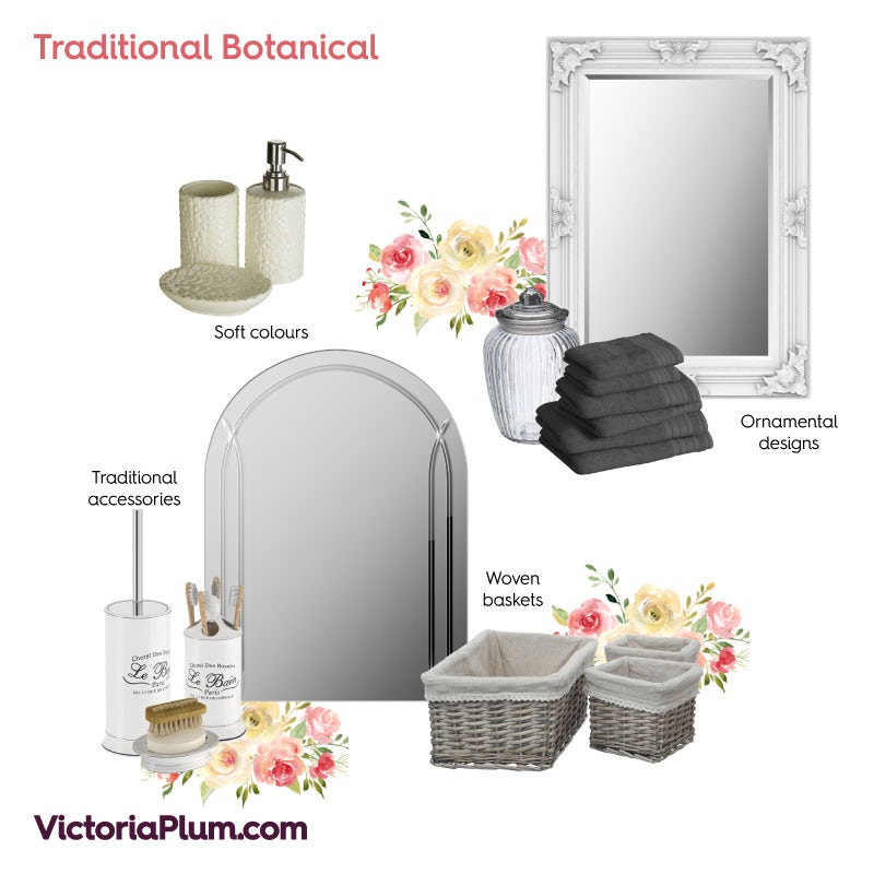 Traditional Botanical bathroom ideas mood board