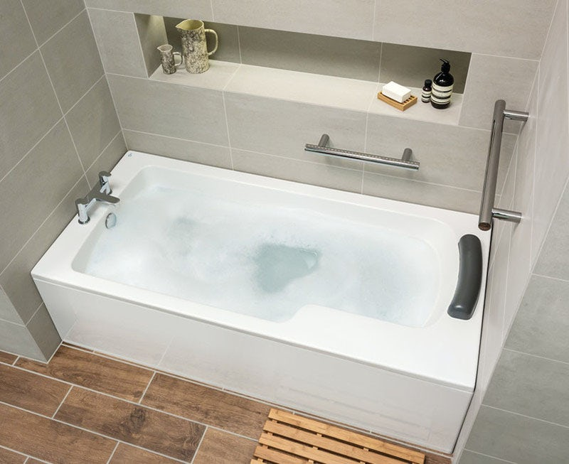 Ideal Standard Concept Freedom Idealform Plus left handed single ended bath 1700 x 800 with front bath panel and bath waste