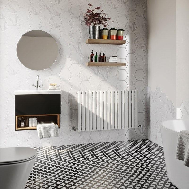 The Heating Co. Tate white single horizontal radiator
