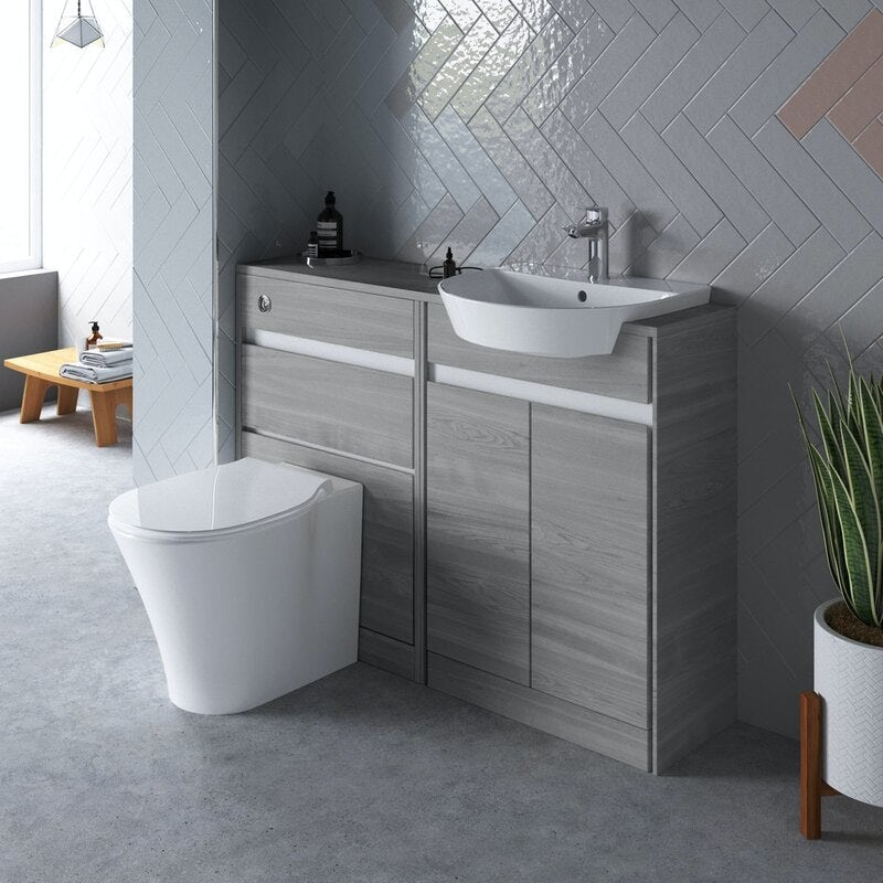 Ideal Standard Concept Air wood light grey 1200 combination unit with toilet and soft close seat