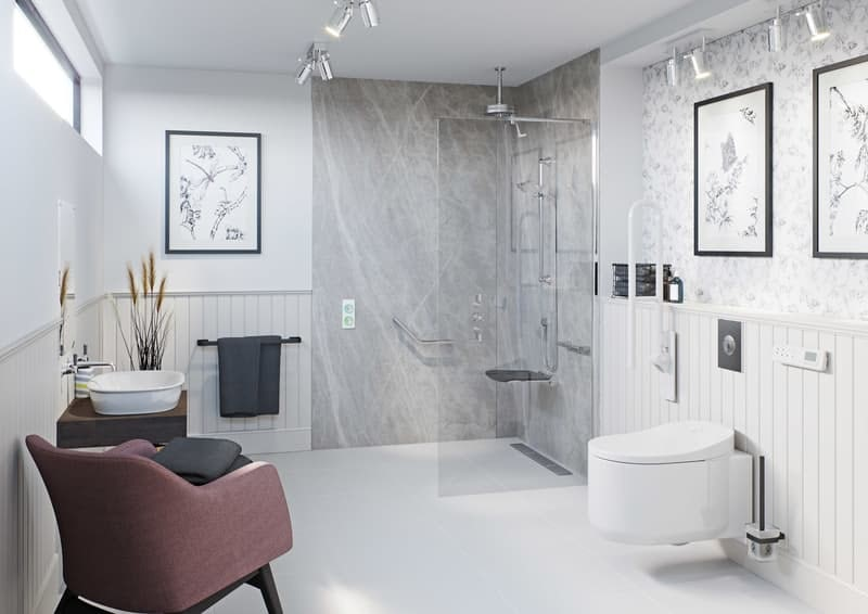 Mobility bathroom with walk in shower enclosure