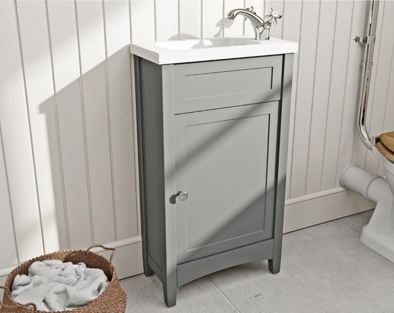 The Bath Co. Camberley satin grey cloakroom floorstanding vanity unit and basin 460mm