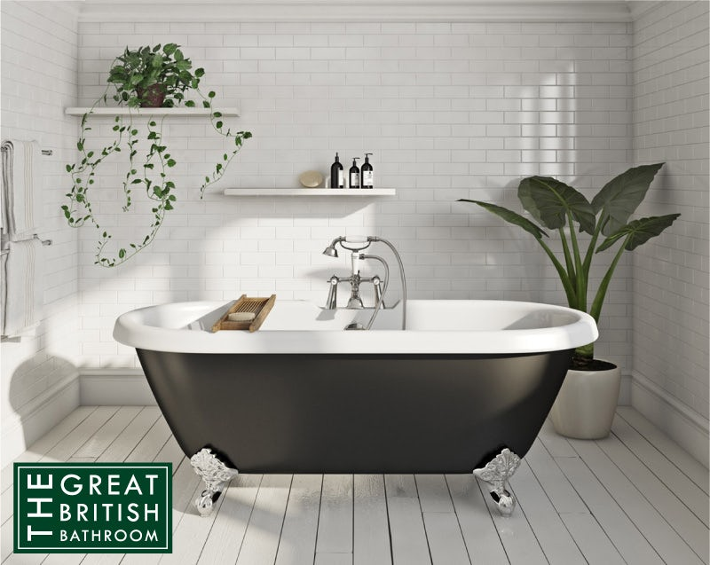 The Bath Co. Dulwich traditional roll top bath with ball feet black