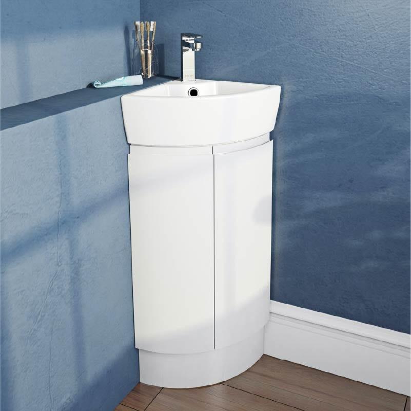 Mode Harrison white corner floorstanding vanity unit and basin 325mm