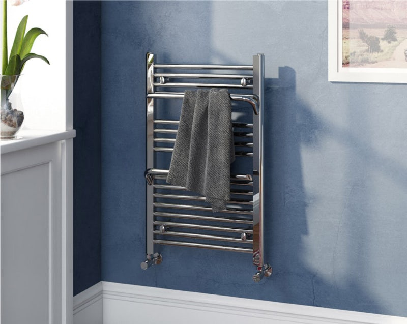 Rohe chrome heated towel rail with hangers