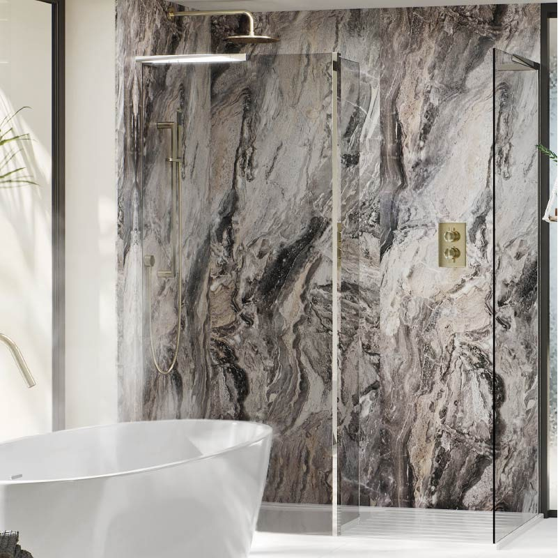 Multipanel Classic Cappuccino Stone unlipped shower wall panel