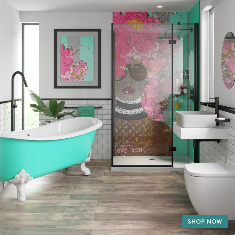 Louise Dear Kiss Kiss Bam Bam Green bathroom suite with freestanding bath and black shower enclosure