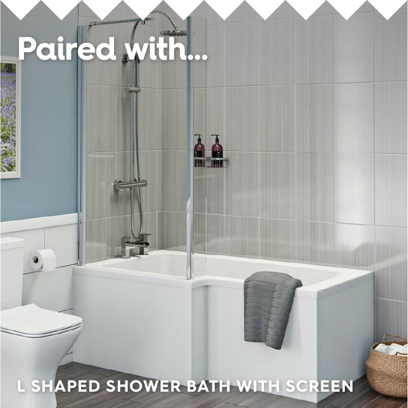 L shaped left handed shower bath with 6mm shower screen