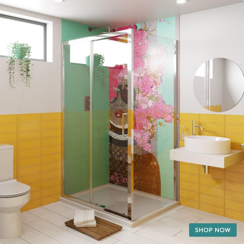 Louise Dear Kiss Kiss Bam Bam Green shower wall panel pack