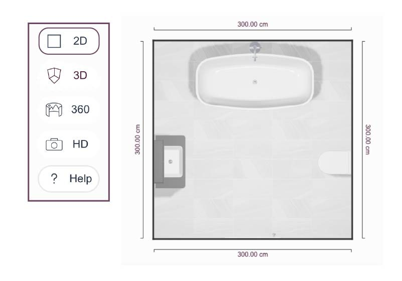 Create a top down image of your bathroom