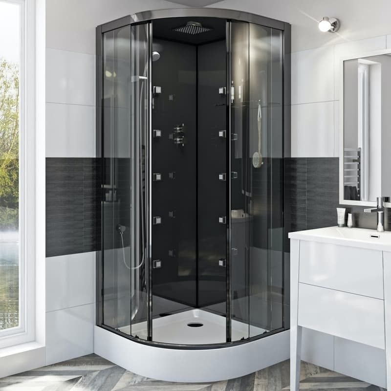 Mode quadrant black glass backed hydro massage shower cabin