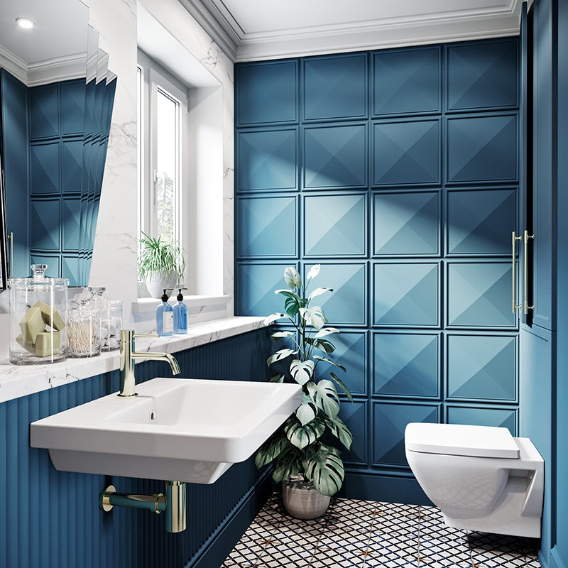 Block bold blue colours in the bathroom