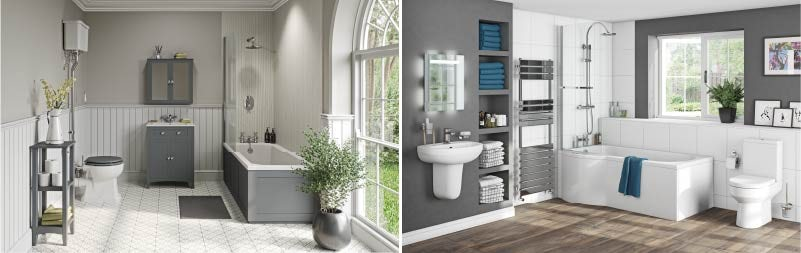 Traditional v Contemporary style family bathrooms