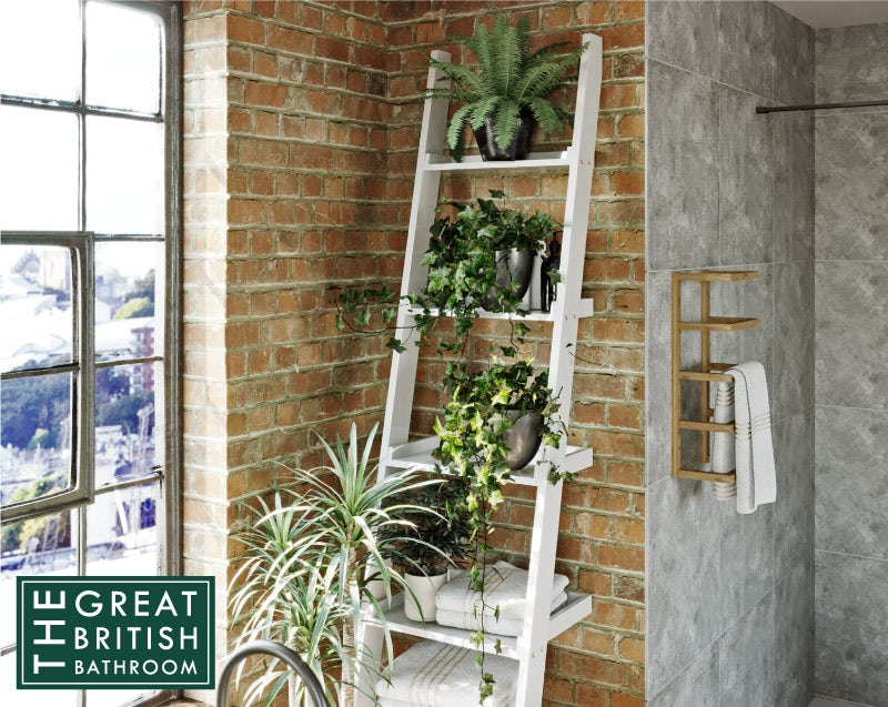 Mode South Bank white ladder shelf 2050 x 500mm