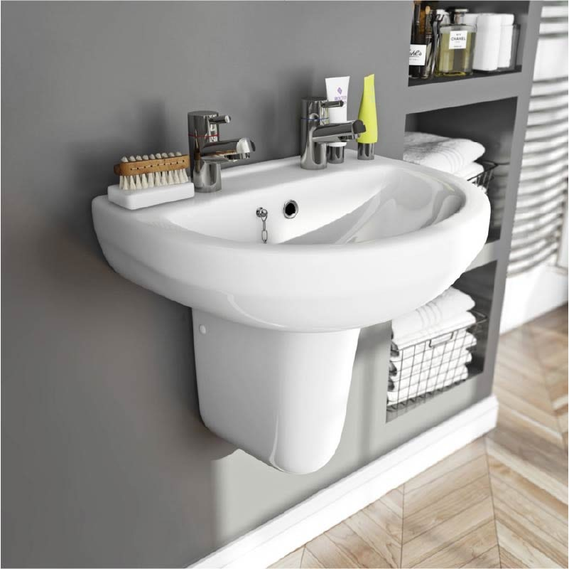Orchard Wharfe 2 tap hole semi pedestal basin 550mm
