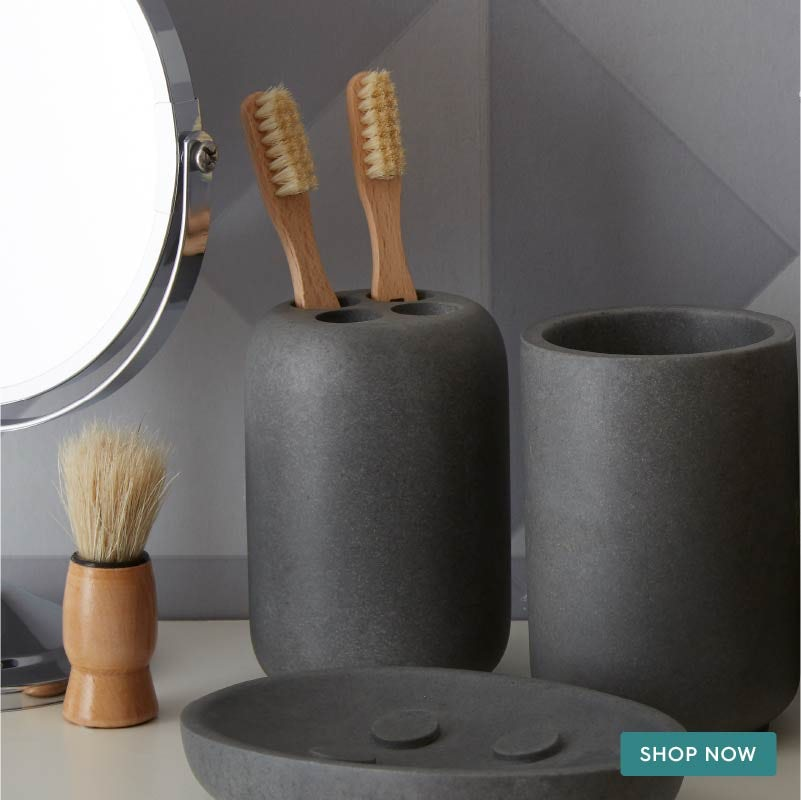Mineral grey resin toothbrush holder