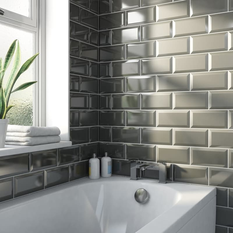 Metro subway dark grey bevelled gloss wall tile 100mm x 200mm