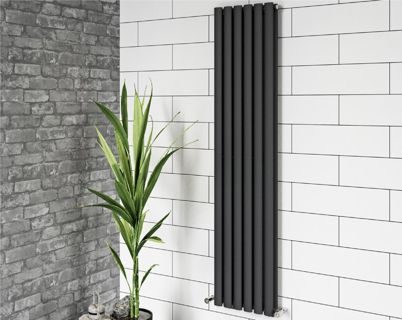 Mode Tate anthracite grey double vertical radiator 1600 x 360