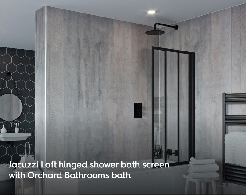 Jacuzzi Loft hinged straight shower bath screen with Orchard single ended bath
