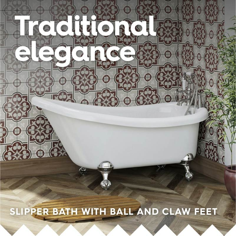 Traditional single ended slipper bath with ball and claw feet