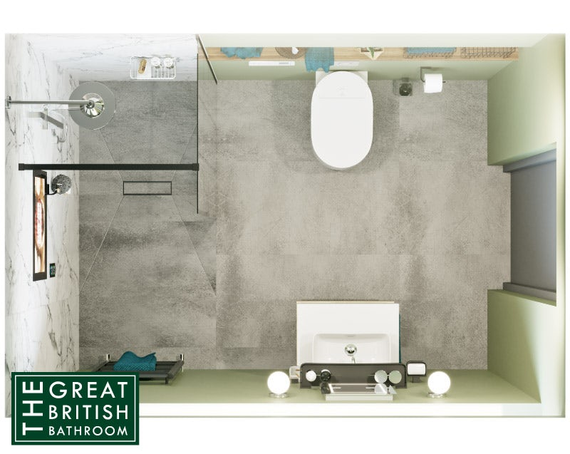 Water-saving bathroom layout