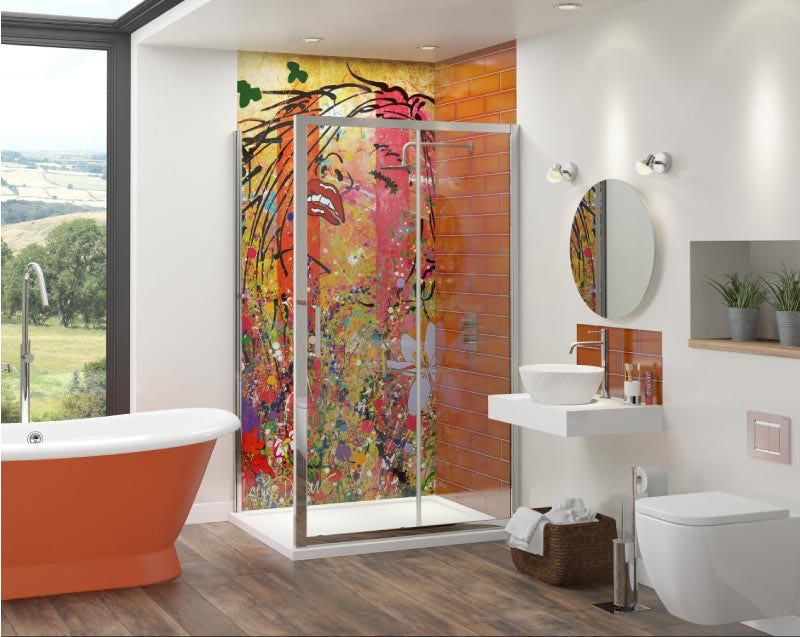 Louise Dear Yum Yum Orange bathroom suite with freestanding bath and shower enclosure