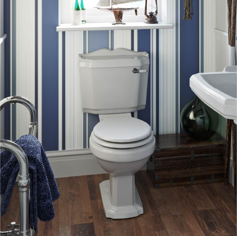 Orchard Winchester close coupled toilet with painted wood seat white