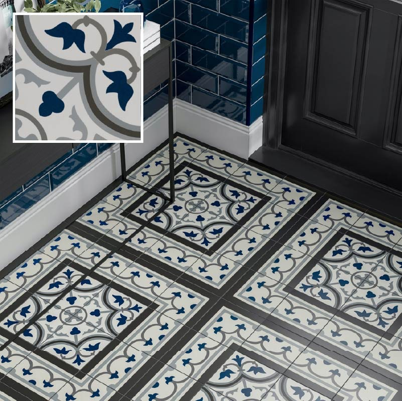 Girona blue traditional matt wall and floor tile 200mm x 200mm