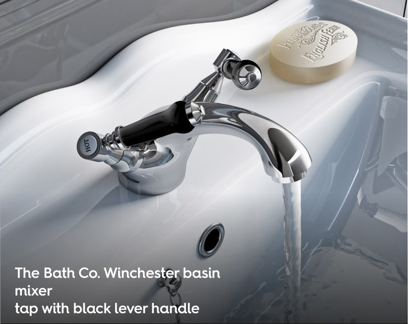 The Bath Co. Winchester basin mixer tap with black lever handle