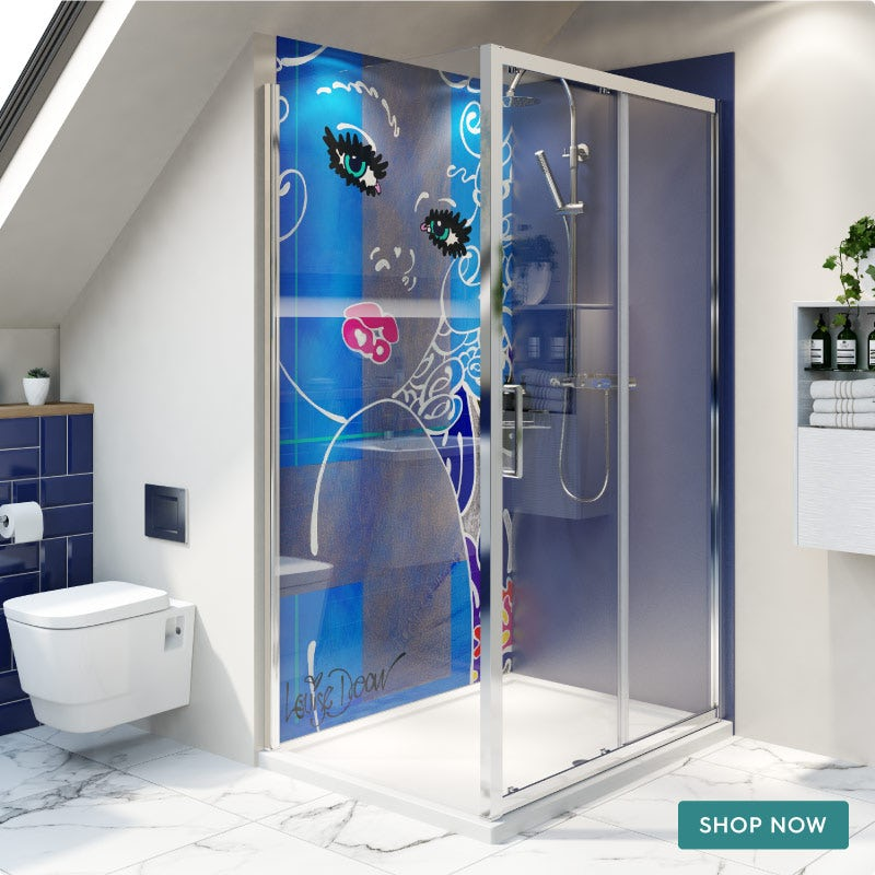 Louise Dear Coo..ee Navy Blue acrylic shower wall panel pack with rectangular enclosure