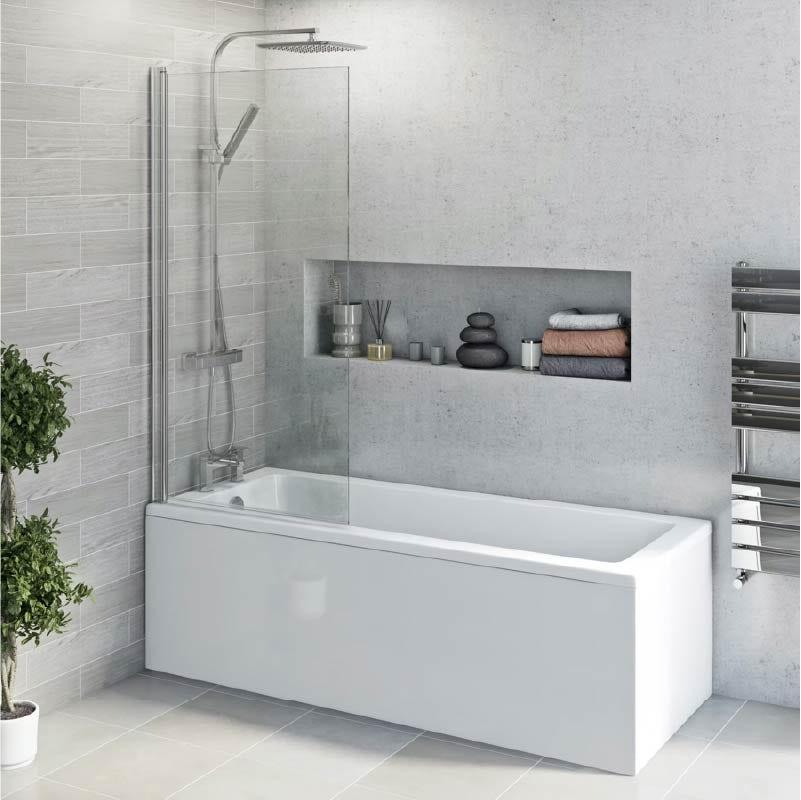 Straight shower bath