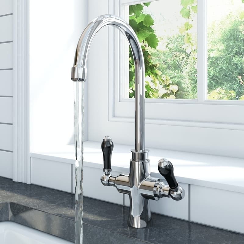 Schon traditional kitchen tap with black ceramic handle