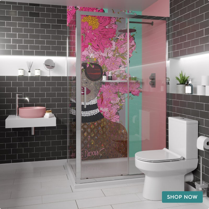 Louise Dear Kiss Kiss Bam Bam Hot Pink bathroom suite with rectangular shower enclosure and tray