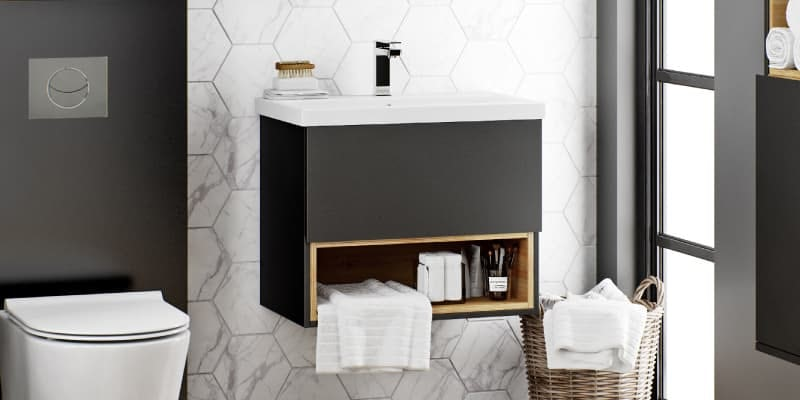 Mode Tate anthracite black & oak wall hung vanity unit and ceramic basin 600mm