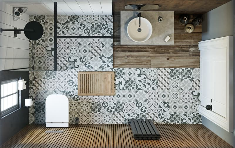 Soft Industrial average-sized bathroom overhead