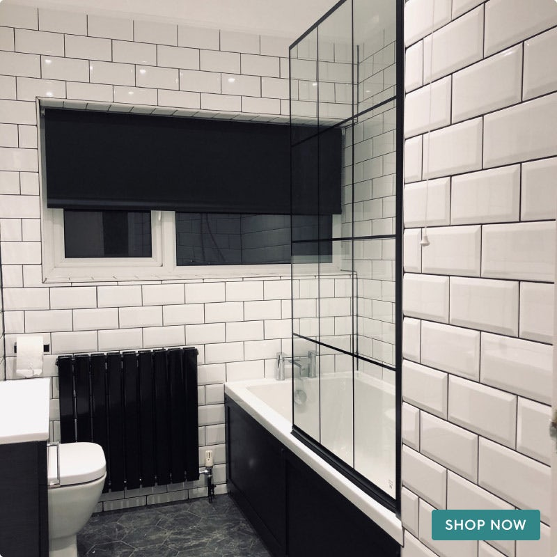 Mode 8mm black framed bath screen
