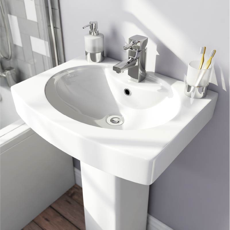 Orchard Wye 1 tap hole full pedestal basin 555mm