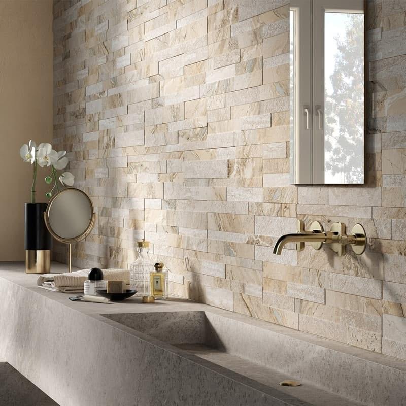 Bolsena beige split face stone effect matt wall tile 150mm x 610mm